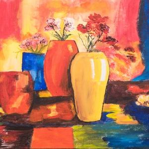 Akril festmény, 50 x 40 cm, kasírozott vászon, Képzőművészet, Otthon & lakás, Festmény, Akril, Lakberendezés, Festészet, Színes csendélet, vászonra festve, akrillal, Meska