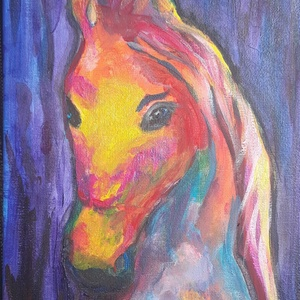 Unikornis, ló.  akril festés gyerekeknek, Otthon & lakás, Gyerek & játék, Gyerekszoba, Baba-mama kellék, Dekoráció, Kép, Festészet, Akril festmény gyerekeknek\nFőleg kislányok kedvence, az unikornis :-)\n\nSzínes,impozáns  színekkel, l..., Meska