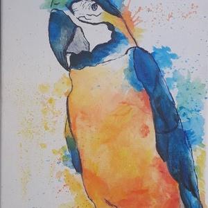 Papagáj festés feszített vászonra, kézzel készítve, Otthon & lakás, Gyerek & játék, Gyerekszoba, Dekoráció, Képzőművészet, Festmény, Akril, Festészet, Színes papagáj festés, gyerekek kedvence\n\nFEszített vászonra készült, akrilfestékkel\nKERETEZÉST NEM ..., Meska