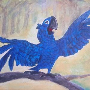 Rio a papagáj festmény, Otthon & lakás, Gyerek & játék, Gyerekszoba, Baba falikép, Képzőművészet, Dekoráció, Kép, Festmény, Akril, Festészet, Festett tárgyak, Rio a népszerű papagáj, festményen\n\nKézzel festett kép\nAkrilfestékkel készült feszített vászonra\n\nMé..., Meska
