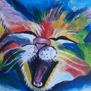 Cica festmény, Falra akasztható dekor, Dekoráció, Otthon & Lakás, Festett tárgyak, Festészet, Színes ásító  cica\n\nAkrilfestékkel készült.\nFeszített vászon.\nKeretezést nem igényel, rögtön falra a..., Meska