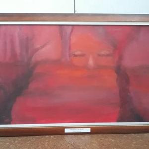 Vörös olajfestmény, Otthon & lakás, Dekoráció, Kép, Képzőművészet, Festmény, Olajfestmény, Napi festmény, kép, Festészet, Festett tárgyak, Vörös, misztikus olajfestmény, KERETEZVE, akasztóval\nKasírozott vászonra készült, olajfestékkel.\nLát..., Meska