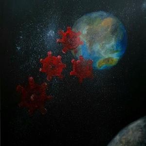 2020-ban olajfestmény (Holdszemszögből), Olajfestmény, Festmény, Művészet, Festészet, Festett tárgyak, Ennek az évnek a meghatározó dolga ihletett ennek a festménynek a létrehozására\n\nOlajfestékkel készü..., Meska