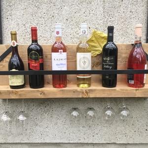 Bortartó 1, Otthon & Lakás, Bútor, Polc, Fémmegmunkálás, Famegmunkálás, Fenyődeszkából készült rusztikus bortartó.\nMéretek:80x30x13\nSzín és méret igény szerint változtathat..., Meska