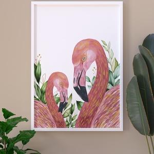 Flamingó pár akvarell nyomat , Művészet, Festmény, Akvarell, Festészet, Mindenmás, Meska