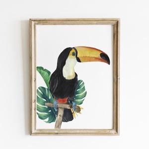 Tukán trópusi levelekkel akvarell nyomat , Művészet, Festmény, Akvarell, Festészet, Mindenmás, Meska