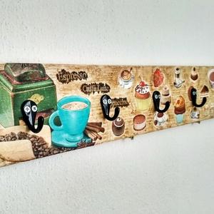 Kávé-süti fogas, Fogas, Bútor, Otthon & Lakás, Decoupage, transzfer és szalvétatechnika, Az újrahasznosítás jegyében egy felújításból megmaradt lécdarabból készült a fogas kabátokhoz, kulcs..., Meska