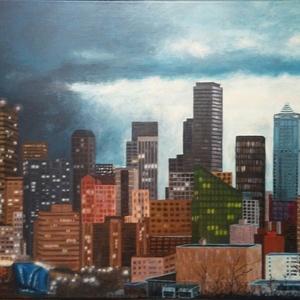 Felhőkarcolók, Képzőművészet, Otthon & lakás, Festmény, Akril, Festészet, Feszített vászonra festett 60x80cm méretű akrikép. A képen egy nagyvárosi részlet látható sötétedésk..., Meska