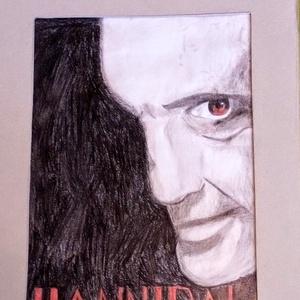 Hannibál Lecter portré, Portré, Portré & Karikatúra, Művészet, Fotó, grafika, rajz, illusztráció, Hannibál Lecter portré egy kiállításra készült képem. A4-es méretű grafittal és művész ceruzával raj..., Meska
