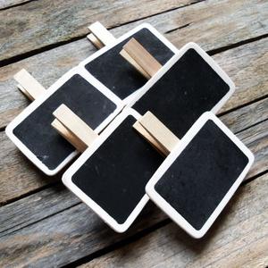 Vintage fekete fa tábla terméktábla árazó tábla- 5db, Dekorációs kellékek, Fa, Vintage hatású termékjelölő tábla - 5db  Anyaga: fa  Krétával írhatunk rá, így az letörölhető bármik..., Meska