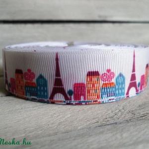 Eiffel torony Párizs mintás  Grosgrain szalag - 22mm, Textil, Szalag, pánt, Egyoldalas nyomott grosgrain szalag.   Méret: 22mm széles   Csomagoláshoz, ajándékokra, képeslapokra..., Meska
