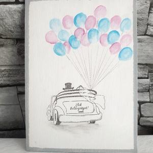 Sok boldogságot esküvői tábla , Esküvő, Esküvői dekoráció, Meghívó, ültetőkártya, köszönőajándék, Nászajándék, Decoupage, transzfer és szalvétatechnika, 15x21 cm fa tábla.  Az alap szín kézzel festett, illetve néhány részlet is. Pl lufi, út. \nKérhető a ..., Meska