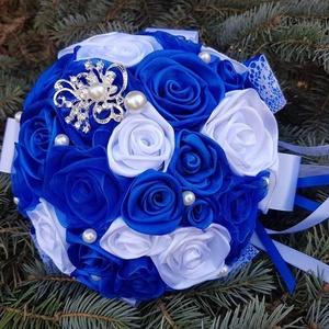 Király kék esküvői csokor, Esküvő, Menyasszonyi- és dobócsokor, Menyasszonyi- és dobócsokor, Virágkötés, Kiràlyi kèksèg !\nKedves menyasszonyok ,ha egy kèk csokrot szeretnètek akkor lehet ez a csokor ràd và..., Meska