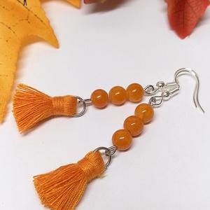 Őszi narancssárga bojtos fülbevaló, Ékszer, Fülbevaló, Rojtos fülbevaló, Ékszerkészítés, Gyöngyfűzés, gyöngyhímzés, Meska