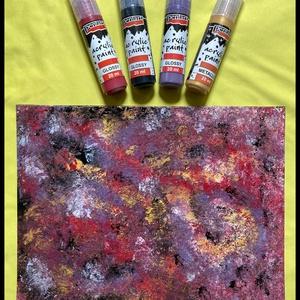 Absztrakt akril festmény - Universe No.1, Művészet, Festmény, Akril, Festészet, Absztrakt akril festmény kasírozott vásznon, 18x24 cm. \n, Meska