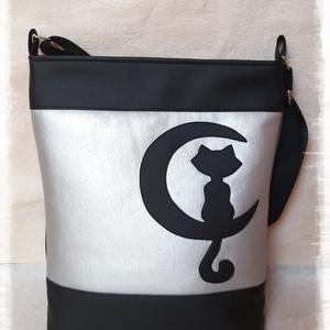 Fekete/ezüst cicás textilbőr táska, Táska & Tok, Kézitáska & válltáska, Varrás, Meska