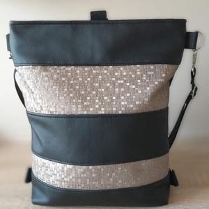 3:1 táska/hátizsák, Táska & Tok, Variálható táska, Varrás, Fekete és világos bronz színű nyomott mintás textilbőrből készült táska, mely oldalt, keresztben átv..., Meska