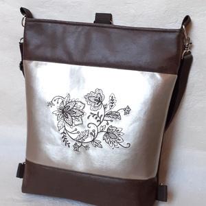 Koptatott bőr hatású textilbőr táska gépi hímzéssel, Táska & Tok, Variálható táska, Varrás, Meska