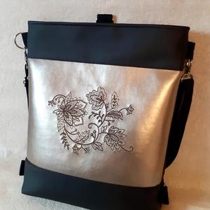 Sötétbarna-pezsgő színű táska/hátizsák, gépi hímzéssel, Táska & Tok, Variálható táska, Hímzés, Varrás, Meska