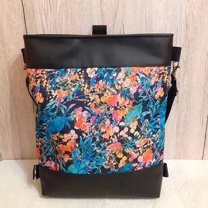 Fekete textilbőr/bogyós- leveles vízálló paneles 3:1 táska, Táska & Tok, Variálható táska, Varrás, Meska