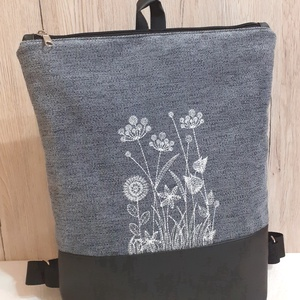 Hátizsák vadvirágos gépi hímzéssel - táska & tok - hátizsák - hátizsák - Meska.hu