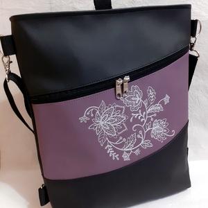 3:1 táska virág mintás gépi hímzéssel, Táska & Tok, Variálható táska, Hímzés, Varrás, Ezt a 3:1 táskát fekete és lila textilbőrből készítettem, elején csodaszép, ezüstszürke virágmintás ..., Meska