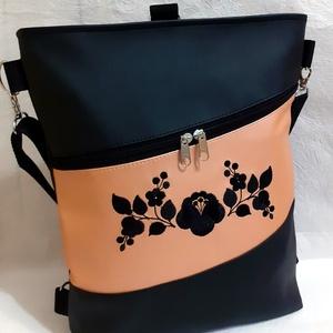 3:1 táska kalocsai gépi hímzéssel, Táska & Tok, Variálható táska, Hímzés, Varrás, Ezt a 3:1 táskát fekete és metálos barack textilbőrből készítettem, elején fekete kalocsai gépi hímz..., Meska