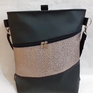 3:1 táska fekete- bronz textilbőrből, Táska & Tok, Variálható táska, Varrás, Ezt a 3:1 táskát fekete és dombornyomott fényes bronz színű textilbőrből készítettem.\nHeveder pántja..., Meska