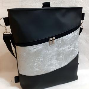 3:1 táska fekete-ezüst textilbőrből, Táska & Tok, Variálható táska, Varrás, Ezt a 3:1 táskát fekete és dombornyomott, magában mintás ezüst színű textilbőrből készítettem.\nHeved..., Meska
