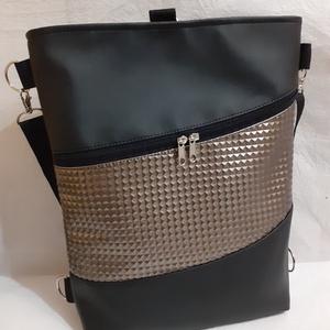3:1 táska fekete- bronz textilbőrből, Táska & Tok, Variálható táska, Varrás, Ezt a 3:1 táskát fekete és dombornyomott bronz színű textilbőrből készítettem.\nHeveder pántja  könny..., Meska