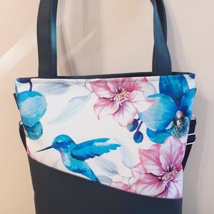 Virágos-kolibris táska, Táska & Tok, Variálható táska, Varrás, Meska