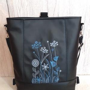 3:1 táska kék vadvirágos hímzéssel, Táska & Tok, Variálható táska, Hímzés, Varrás, Meska