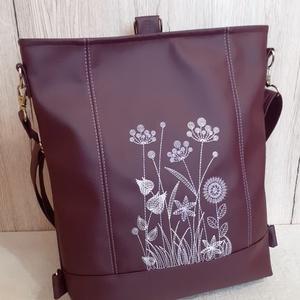 Vadvirágos 3:1 táska / sötétmályvás-lilás textilbőrből, Táska & Tok, Variálható táska, Hímzés, Varrás, Meska