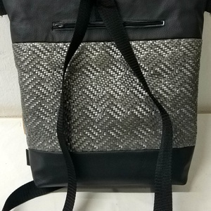 Fekete kétfunkciós textilbőr táska (rebarberbag) - Meska.hu