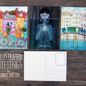ILLUSZTRÁCIÓS képeslapok, Naptár, képeslap, album, Otthon & lakás, Képzőművészet, Képeslap, levélpapír, Illusztráció, Fotó, grafika, rajz, illusztráció, 3 darab illusztrációs képeslap\n- méret: 10,5x15 cm\n- 300 g-os papír\n\nBudapesten átvehető személyesen..., Meska