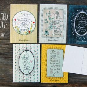 ILLUSZTRÁCIÓS képeslapok, Naptár, képeslap, album, Otthon & lakás, Képzőművészet, Képeslap, levélpapír, Illusztráció, Fotó, grafika, rajz, illusztráció, 5 darab illusztrációs képeslap idézetekkel\n- méret: 10,5x15 cm\n- 300 g-os papír, Meska