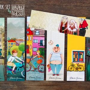 könyvjelző szett ILLUSZTRÁCIÓKKAL, Naptár, képeslap, album, Otthon & lakás, Könyvjelző, Képzőművészet, Fotó, grafika, rajz, illusztráció, 7 darab illusztrációs könyvjelző\n- méret: 18.5x5.3 cm\n- 300 g-os papír\n\nBudapesten átvehető személye..., Meska