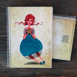 TEATÜNDÉRes füzet, Képzőművészet, Otthon & lakás, Illusztráció, Naptár, képeslap, album, Jegyzetfüzet, napló, Fotó, grafika, rajz, illusztráció, Könyvkötés, TÜNDÉRES illusztrációs nyomdában készült füzet\n- mérete: A5 (14.8x21.0 cm)\n- 100 lapos - sima lapos\n..., Meska