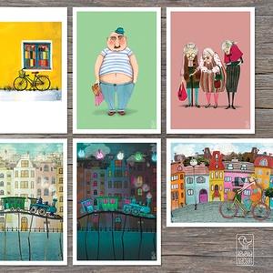 Biciklis és Vonatos illusztrációk - művészet - grafika & illusztráció - Meska.hu