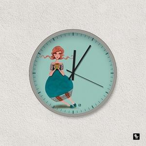 TEAtündér falióra, Képzőművészet, Otthon & lakás, Illusztráció, Lakberendezés, Falióra, óra, Festészet, Fotó, grafika, rajz, illusztráció, TEAtündér - illusztrációs falióra\n- átmérője 22cm\n\nBudapesten személyesen átvehető a Széll Kálmán té..., Meska