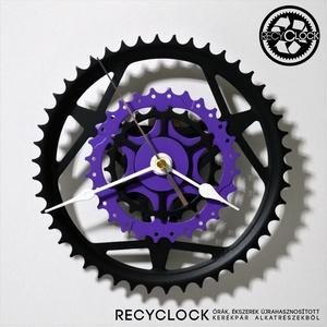 recyclock CHR-404 - falióra újrahasznosított kerékpár alkatrészből, Férfiaknak, Lakberendezés, Otthon & lakás, Falióra, óra, Bringás kiegészítők, Újrahasznosított alapanyagból készült termékek, Ötvös, Egyedi, kerékpár alkatrészekből készített falióra. \nA CWB sorozat órái elsősorban a kerékpárok lánct..., Meska