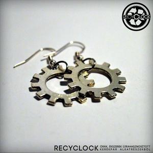 recyclock  ERR-004 bringás fülbevaló, Lógó fülbevaló, Fülbevaló, Ékszer, Újrahasznosított alapanyagból készült termékek, Ötvös, bringás fülbevaló\n\nA fülbevaló átmérője 25mm\nakasztója nikkelmentes.\n\nmég több recyclock fülbevaló:\n..., Meska