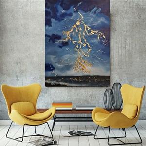 Villám az óceán felett, Művészet, Festmény, Akril, Festészet, Eladó!\n\nVillám az óceán felett című festményem.\n\nEz a kép 60×80 cm Winsor&Newton vászonra készűlt, a..., Meska