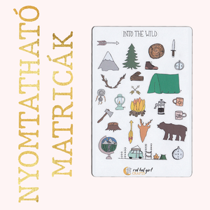 Nyomtatható Into the Wild Matricák Bullet Journal Matricák Határidőnapló Matricák, Falmatrica & Tapéta, Dekoráció, Otthon & Lakás, Fotó, grafika, rajz, illusztráció, Ez a természet és kempingezés ihlette matricakollekció tökéletes minden tervezőben, bullet journel-b..., Meska