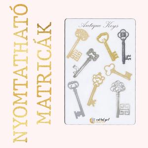 Nyomtatható Antik Kulcs/ Antique Keys Matricák Bullet Journal Matricák Határidőnapló Matricák, Falmatrica & Tapéta, Dekoráció, Otthon & Lakás, Fotó, grafika, rajz, illusztráció, Ez az antik kulcsok ihlette matricakollekció tökéletes minden tervezőben, bullet journel-ben és hatá..., Meska