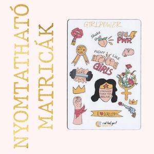 Nyomtatható Girlpower/ Hajrá Lányok Matricák Bullet Journal Matricák Határidőnapló Matricák, Falmatrica & Tapéta, Dekoráció, Otthon & Lakás, Fotó, grafika, rajz, illusztráció, Ez a girlpower matricakollekció tökéletes minden tervezőben, bullet journel-ben és határidőnaplóban...., Meska