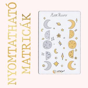Nyomtatható Moon Phases/ Holdállás Matricák Bullet Journal Matricák Határidőnapló Matricák, Falmatrica & Tapéta, Dekoráció, Otthon & Lakás, Fotó, grafika, rajz, illusztráció, Ez a holdállásos matricakollekció tökéletes minden tervezőben, bullet journel-ben és határidőnaplóba..., Meska