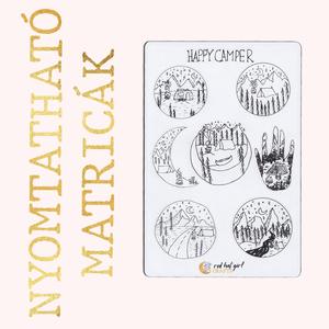 Nyomtatható Happy Camper Matricapapír Természet Kempingezés Bullet Journal (fekete-fehér verzió), Falmatrica & Tapéta, Dekoráció, Otthon & Lakás, Fotó, grafika, rajz, illusztráció, Ez a természet és kempingezés ihlette matricakollekció tökéletes minden tervezőben, bullet journel-b..., Meska