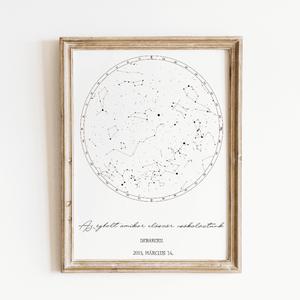 Nyomtatható Egyedi csillagtérkép, csillagkép, égbolt, DIGITÁLIS poszter,falikép, Otthon & lakás, Dekoráció, Kép, Lakberendezés, Falikép, Képzőművészet, Illusztráció, Fotó, grafika, rajz, illusztráció, Nyomtatható egyedi csillagtérkép\n\nEgyedi ajándékot keresel? A csillagtérkép csodálatos ajándékot nyú..., Meska