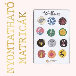 Nyomtatható Trónok harca Matricák Game of Thrones GOT Matricák Bullet Journal Matricák Határidőnapló Matricák -1. verzió, Falmatrica & Tapéta, Dekoráció, Otthon & Lakás, Fotó, grafika, rajz, illusztráció, Ez a Trónok harca inspirálta matrica kollekció tökéletes minden tervező, bullet journal és határidőn..., Meska